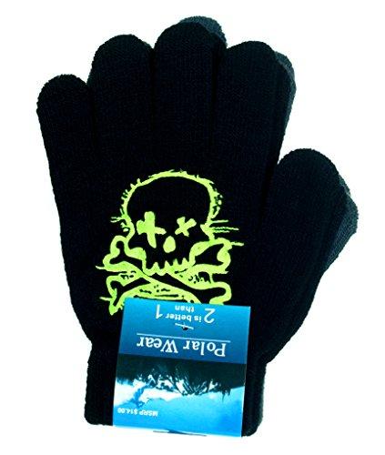 [Boy's Skull & Crossbones Thin Knit Gloves 2-Pack (Green)] (Infant Racing Halloween Costume)