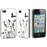 Blanc Et Argent Papillon Fleur Modle Dur Dos Hybride Etui Pour Apple IPhone 4 4G