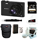 Sony DSC-WX350/B DSCWX350 WX350 18 MP Digital Camera (Black) + Sony 16GB SDHCMemory Card + Camera Case + Rechargeable Lithium-Ion Battery Pack for Sony NP-BX1 with Battery Charger + Accessory Kit