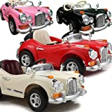 NEW DESIGN CLASSIC VINTAGE MERCEDES STYLE 12V TWIN MOTORS KIDS RIDE ON CAR WITH 4 WYAS PARENTAL REMOTE CONTROL 4 CLOURS RED, PINK, BLACK AND WHITE + mp3 input + digital battery capacity timer + leather seat pad