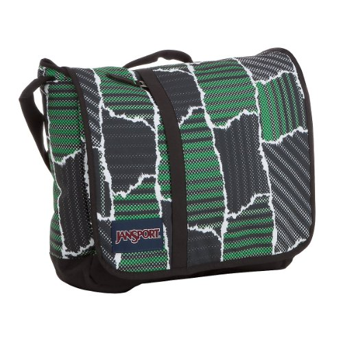 Jansport Js Classic 9-Track Umhängetasche mit Laptopfach 38 cm (black/putting green krag)