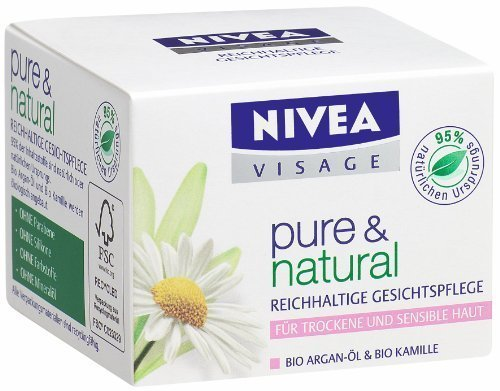 German Nivea Visage Pure & Natural Soothing Day Cream For Dry / Sensitive Skin 50 Ml