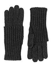 M&S Collection Metallic Effect Knitted Gloves with Angora