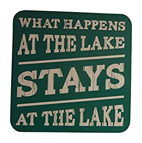 What Happens At The Lake Stays At The Lake 15.5 x 15.5 Green Lake House Sign - Large Sign (thin non-rustic birch wood)  - Makes a Great Decoration, Wall Art, or Gift in Any Beach House, Cabin, Cottage, or Lodge. Made in USA.
