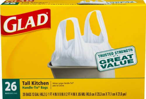 Glad Tall Kitchen Handle-Tie Trash Bags, White, 13 Gallon, 26 Count