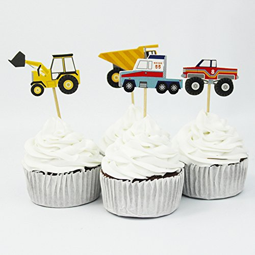 Winrase® Pack of 24 Cute Construction Vehicles Kids Party Decoration Paper Cupcake Toppers (Construction Vehicles)