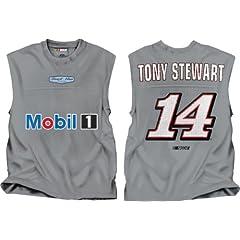 Buy NASCAR Stewart Haas Racing Tony Stewart #14 Mobil One Grey Shooter Sleeveless T-Shirt by Checkered Flag