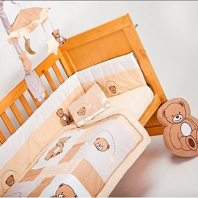 Teddy Bear 5 Piece Quilt Bedding Bale, Cot/Cot Bed