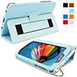 Snugg Galaxy Tab 3 7.0 Leather Case in Baby Blue - Flip Stand Cover with Elastic Hand Strap and Premium Nubuck Fibre Interior - Automatically Wakes and Puts the Samsung Galaxy Tab 3 7.0 to Sleep