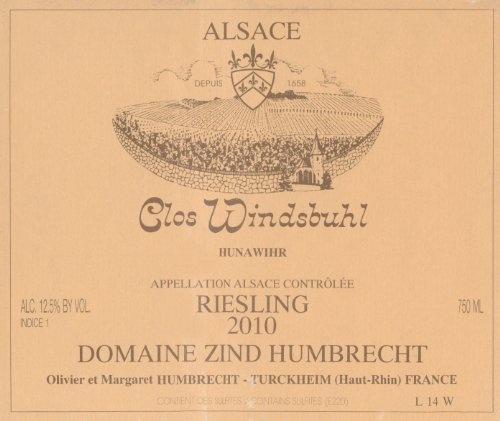 2010 Zind Humbrecht Riesling Clos Windsbuhl Alsace Grand Cru 750 Ml