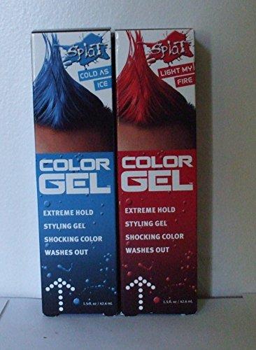 SPLAT 2 Piece Bundle, Splat Color Gel, Light my fire & Cold as Ice Temporary Hair Color Gel, 1.5 oz each