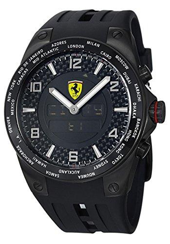 Ferrari de tiempo del mundo de color caqui FE-05-IPB-FC 45 mm de acero inoxidable de color negro y funda de goma para el reloj de los hombres de Mineral
