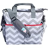 Bula Baby - Stylish Chevron Diaper Tote Organizer Bag - With 12 Pockets to Keep Everything Secure