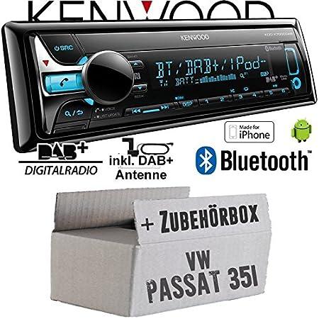 VW Passat 3A + 35i - Kenwood KDC-X7000DAB - Bluetooth | CD | MP3 | USB | DAB+ Digitalradio Autoradio inkl. DAB Antenne - Einbauset