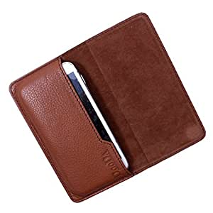 Dooda Genuine Leather Flip Pouch Case For Huawei Ascend G7 (TAN BROWN)