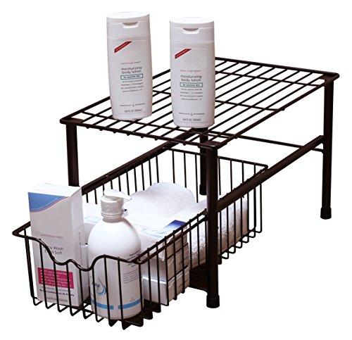 Decobros stackable under sink cabinet sliding basket for Under sink cabinet tray