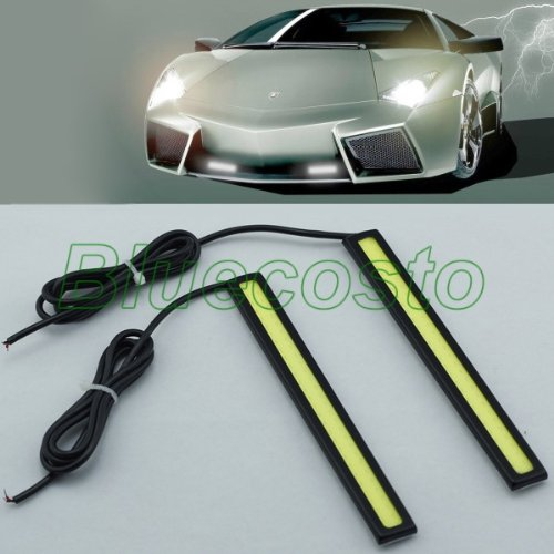 Aode® 2X Super Bright Cob White Car Vehicle Automobile Auto Led Light Drl Driving Running Fog Lamp 12V Brake Light Back-Up Light Decorative Lights License Plate Light Door Light Chassis Decorative Reversing Lamp Light 130031