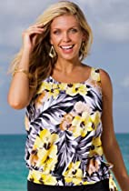 Beach Belle Everlasting Floral Plus Size Blouson Tankini Top Plus Size Swimwear - Yellow - Size:18