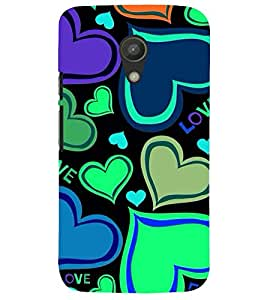 Printvisa Hearts Pattern In Flourscent Colours Back Case Cover for Motorola Moto G2 X1068::Motorola Moto G (2nd Gen)