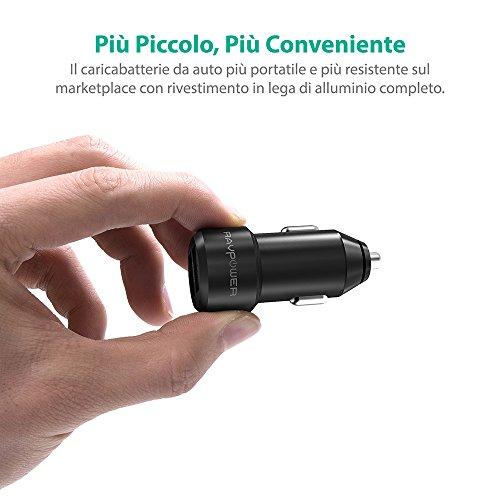 Alta-Qualit-Extra-Mini-Alluminio-Caricabatterie-Auto-RAVPower-a-2-Porte-24W-48A-Caricatore-USB-Universale-con-Tecnologia-iSmart-per-iPhone-iPad-Smartphone-Samsung-Galaxy-LG-Nexus-TomTom-ecc