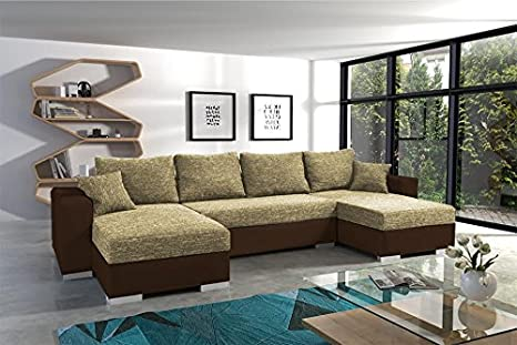 POCUS BIS large faux leather and fabric brown and beige corner sofa bed couch with pillows storage sleeping area living room furniture couches