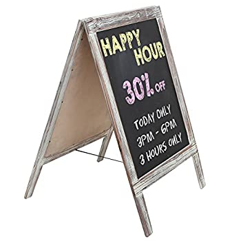 Freestanding Country Rustic Style Message Memo Chalkboard Sign / Sidewalk A-Frame Chalk Sandwich Board