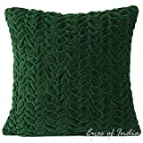 """16"""" EMERALD HAND-QUILTED VELVET TOSS PILLOW CUSHION COVER THROW SOFA Decorative"""