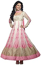 AAINA Women's Georgette Unstitched Dress Material (White)