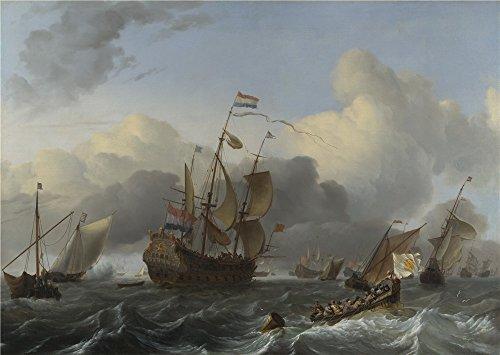 ludolf-bakhuizen-the-eendracht-and-a-fleet-of-dutch-men-of-war-oil-painting-30-x-42-inch-76-x-107-cm