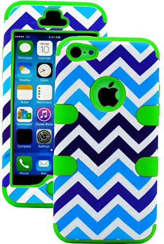 """Mylife Lime Green + Blue And White Chevron 3 Layer (Hybrid Flex Gel) Grip Case For New Apple Iphone 5C Touch Phone (External 2 Piece Full Body Defender Armor Rubberized Shell + Internal Gel Fit Silicone Flex Protector) """"Attention: This Case Comes Grip Eas"""