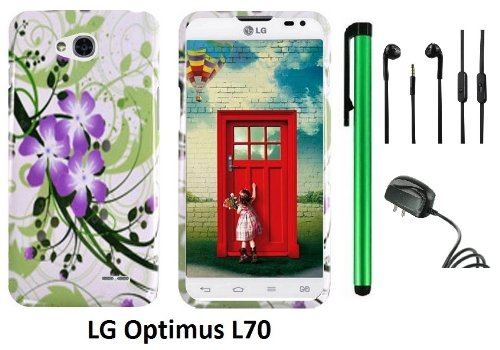 Lg Optimus L70 (Ms323) Premium Pretty Design Protector Hard Cover Case + Travel (Wall) Charger + 3.5Mm Stereo Earphones + 1 Of New Assorted Color Metal Stylus Touch Screen Pen (Splash-Ink Painting Purple Green Flower On White)