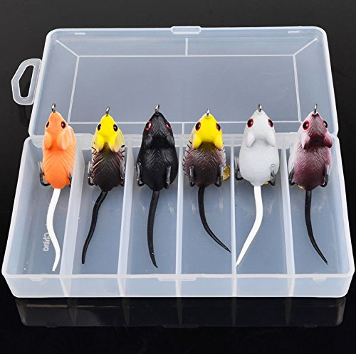 Dealzone 6pcs Lot Soft Lures Fishing Lure Mouse Rat Bait Tackle 8 57g 2 5 08cm with Box