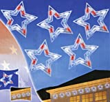 Set of 5 LED Red - White and Blue Patriotic Star Christmas Lights - White Wire