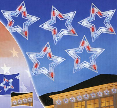 Set Of 5 Led Red, White And Blue Patriotic Star Christmas Lights - White Wire