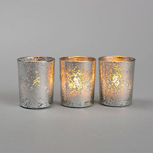 Set of 3 Silver Metallic Mercury Poured Wax Flameless Glass Votives