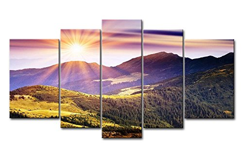 5 Panel Wall Art Painting Sunshine In Mountains Pictures Prints On Canvas Landscape The Picture Decor Oil For Home Modern Decoration Print