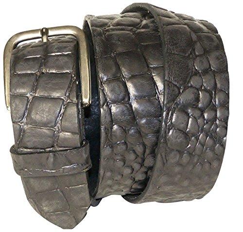 FRONHOFER Crocodile leather belt with a rectangular buckle, interchangeable, Size:waist size 31.5 IN M EU 80 cm;Color:Black