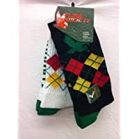 Flow Society Authentic Lacrosse Gear Socks Argyle Crew Black with Green/Red/Yellow and White with Green/Red/Yellow (This is a pack of 2 pairs of socks.) Size Large Fits Shoe 9-12.5