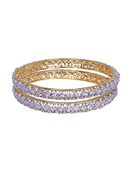 Gehna Handmade Pair Of Bangle Made In Metal Studded With American Diamonds
