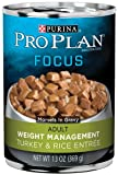 Purina Pro Plan Adult Dog Food (Weight Management), Turkey and Rice Entrée, 13-Ounce Cans (Pack of 12)