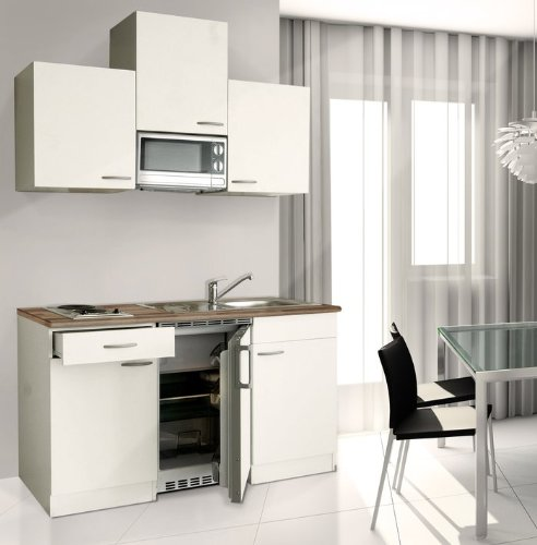 Respekta Kitchen Unit KB 150 WWMIC / 150 cm White / Ceramic with APL Butcher Walnut / Includes Microwave