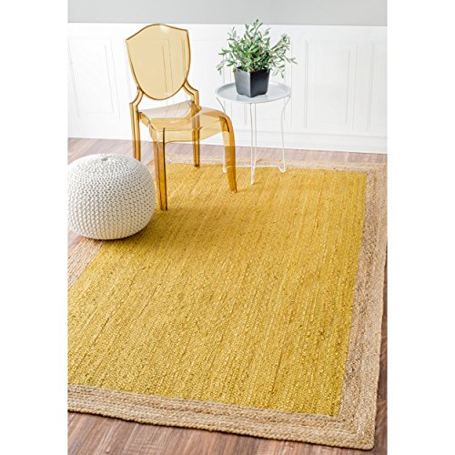 Handmade Natural Fibers Border Jute Yellow Round Rug, (3' x 5')