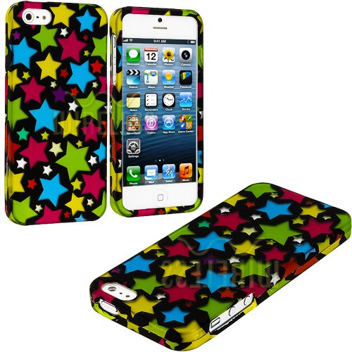 Mylife (Tm) Rainbow Star Overload Series (2 Piece Snap On) Hardshell Plates Case For The Iphone 5/5S (5G) 5Th Generation Touch Phone (Clip Fitted Front And Back Solid Cover Case + Rubberized Tough Armor Skin + Lifetime Warranty + Sealed Inside Mylife Auth