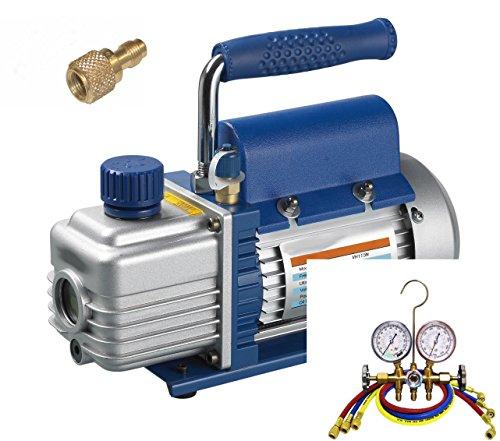 Set Refrigeration - Pompe à vide + manifold + tuyaux, 51-57 lt, R22-134a-407c-410a, NEUF