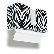 "TrippNT 51908 Zebra Plastic Dual-Dispensing Paper Towel Holder, 11"" Width x 6"" Height x 4"" Depth"