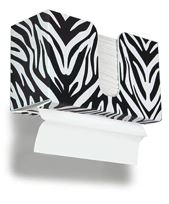 "TrippNT 51908 Zebra Plastic Dual-Dispensing Paper Towel Holder, 11"" Width x 6"" Height x 4"" Depth"