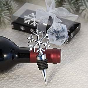 Elegant Snowflake Winter Wedding Theme Wine Stopper Favors, 1