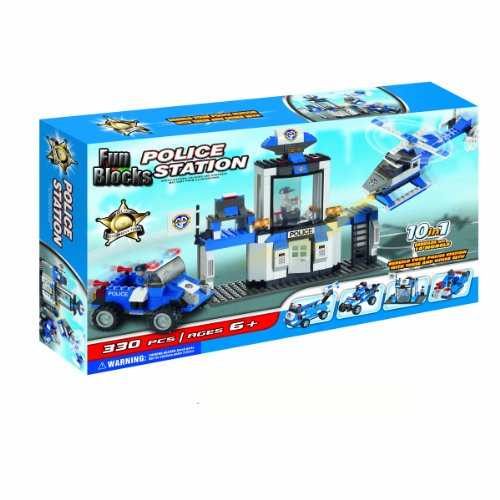 Fun Blocks (Compatible With Lego) Police Station 10-In-1 Brick Set (330 Pieces)