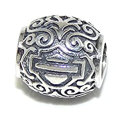 Pro Jewelry .925 Sterling Silver Harley Davidson Logo on Victorian Barrel Charm Bead 2801