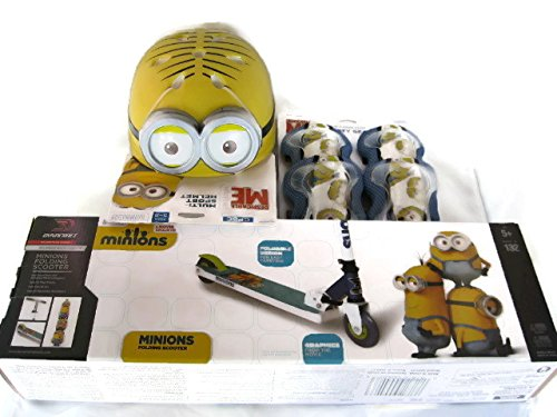 Despicable-Me-Minions-3-D-Dynacraft-Folding-Scooter-Bundle-with-Despicable-Me-Minion-Made-Multi-Sport-Helmet-and-Despicable-Me-Minion-Made-Elbow-Knee-Pads-Safety-Gear-6-Items